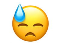 Unhappy sweaty emoji