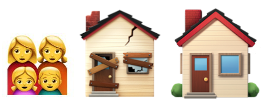 Family emoji next to a nice house and a broken house emoji