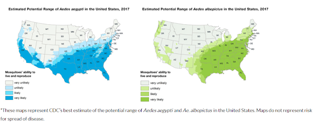 CDC range map of mosquito habitat