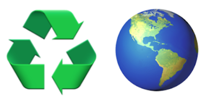 recycling symbol and globe emoji