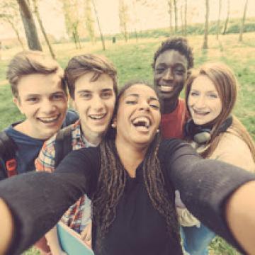 Group of teenagers taking a selfie