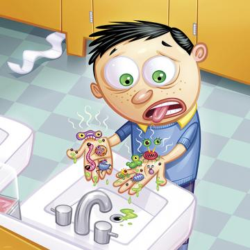 Cartoon of a kid covered in germs