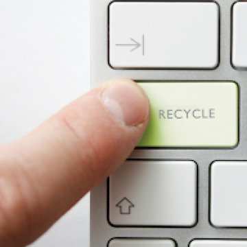 Finger pushing Recycle button