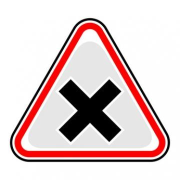Yield sign with an X on it